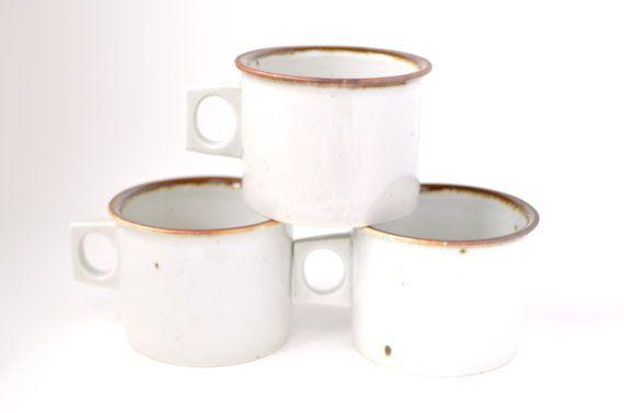 Vintage Dansk Mugs, Brown Mist Pattern, Set of 3 Vintage Stoneware Mugs, Made in Denmark