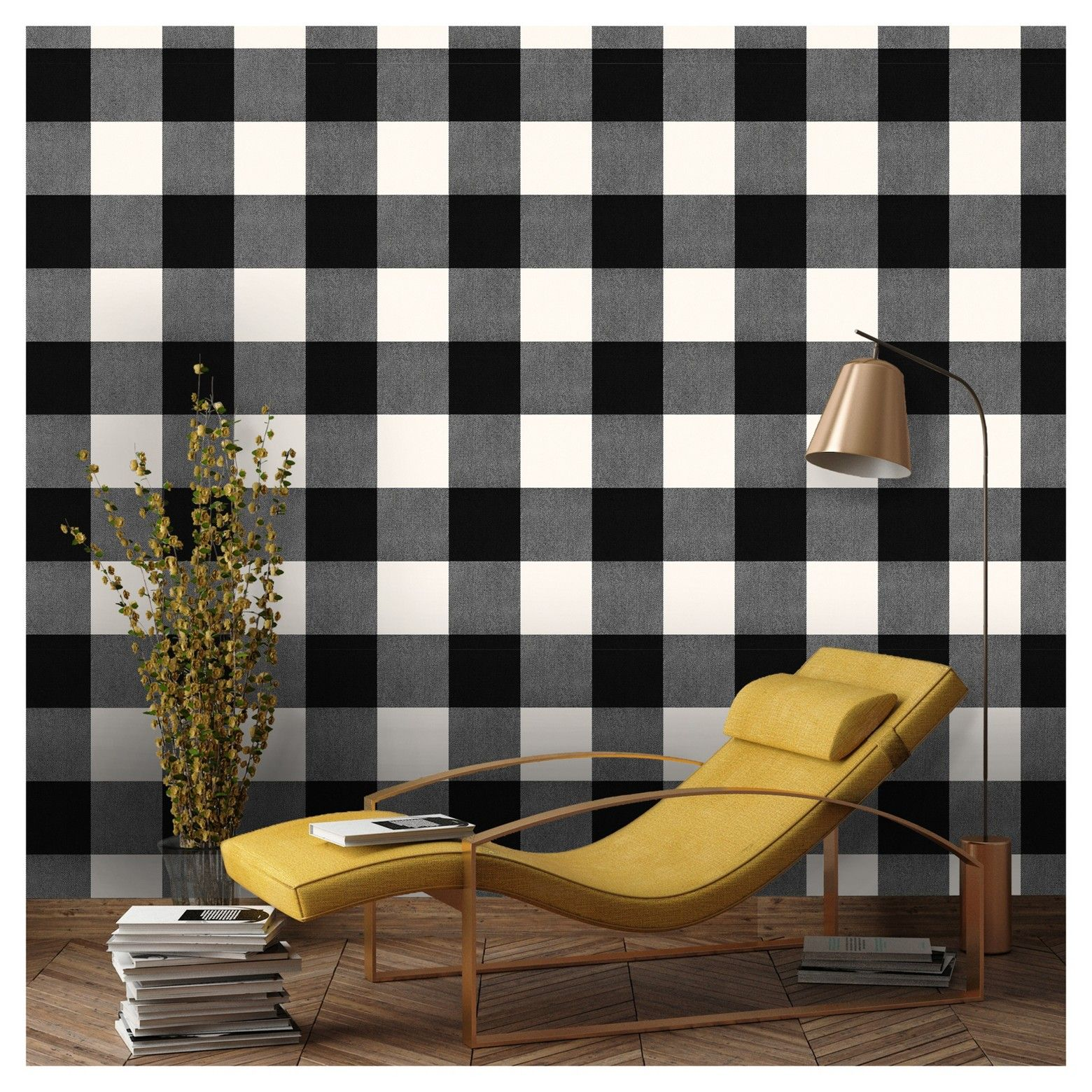Buffalo Plaid Peel Stick Wallpaper Black Threshold French Country Living Room Country Living Room Wallpaper Living Room