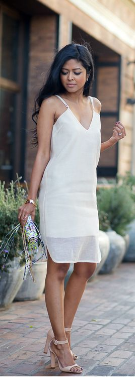 Easy chic with hair un fussy just effortless must be ( thin ) strap dress and nude/peach makeup or maybe red lip and strappy shoe