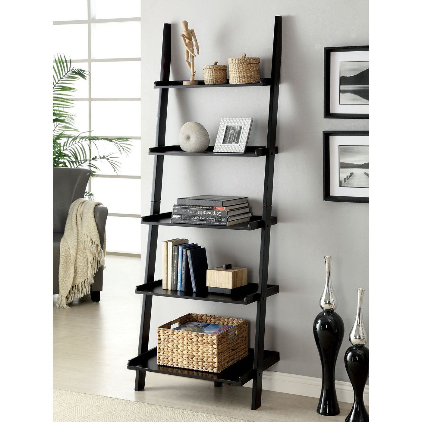 Furniture of america cmacwh sion ladder shelf new living room