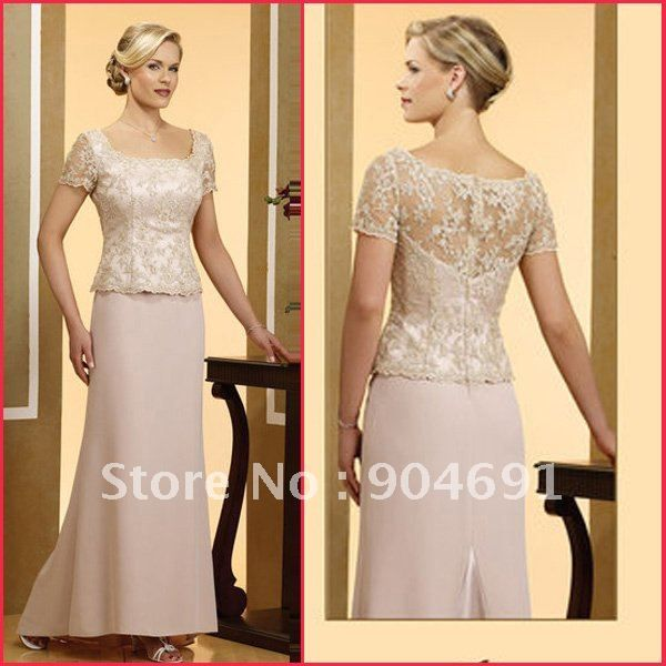 Wholesale Dresses Blush Rose Short Sleeve Lace Satin Evening Dress ...
