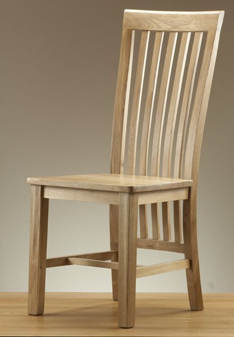 Slatted High Back Solid Oak Dining Chair