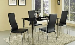 Groupon Rome Gl Dining Table Set With Four Or Six Chairs From 124 98