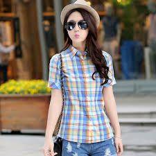 Resultado de imagen para camisas a cuadros mujer cortas