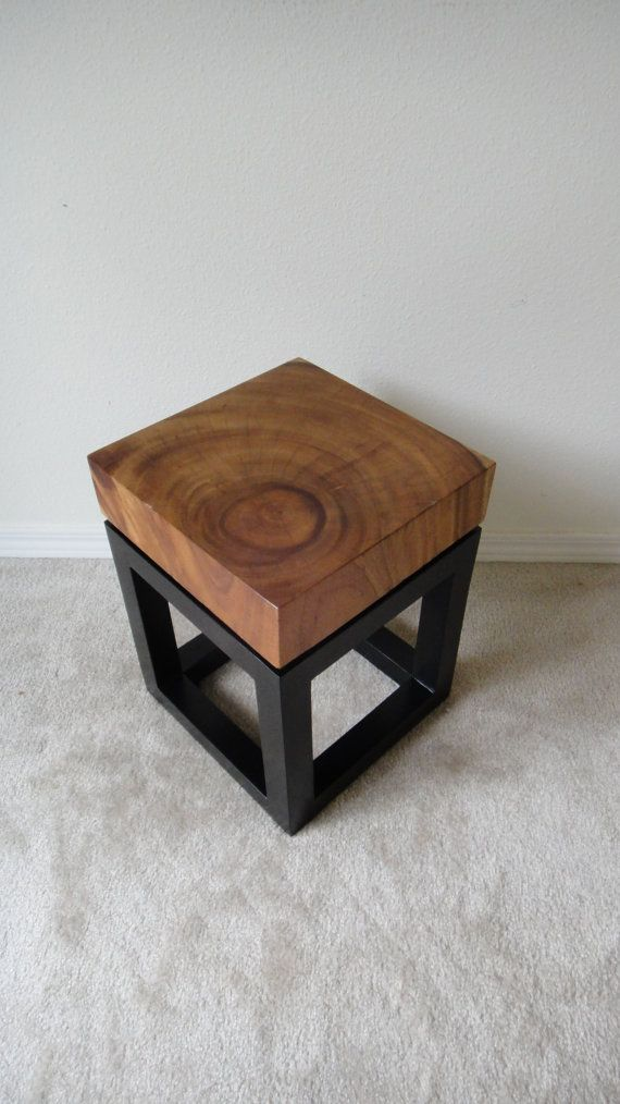 Rustic Modern Slab Wood End Side Table by NAVINliving on Etsy ...