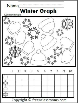 Free Winter Graphing Worksheet Fun For Preschool Kindergarten
