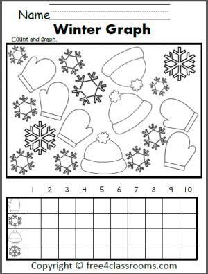 Free Winter Graphing Worksheet Fun for preschool Kindergarten