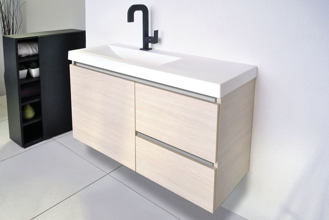 900mm Atlanta Ensuite Off Centre Bowl Wall Hung Vanity in ...