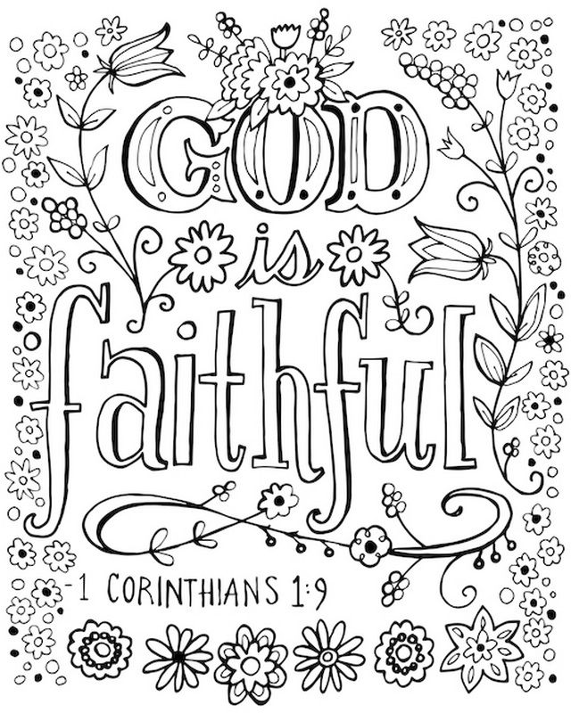 God Is Faithful Coloring Canvas Coloring Canvas Bible Coloring Pages Quote Coloring Pages