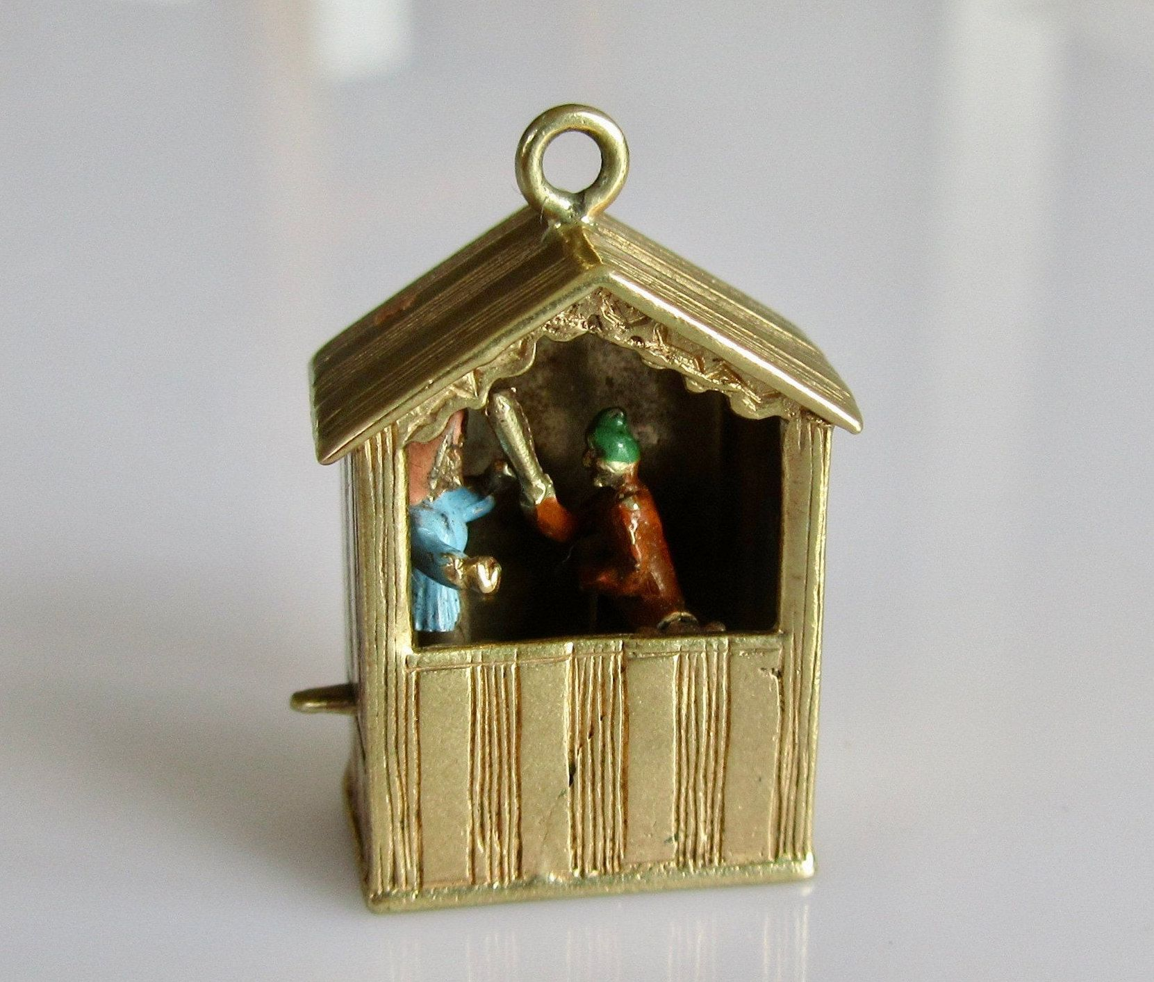 STERLING SILVER MOVABLE PUNCH /& JUDY CHARM
