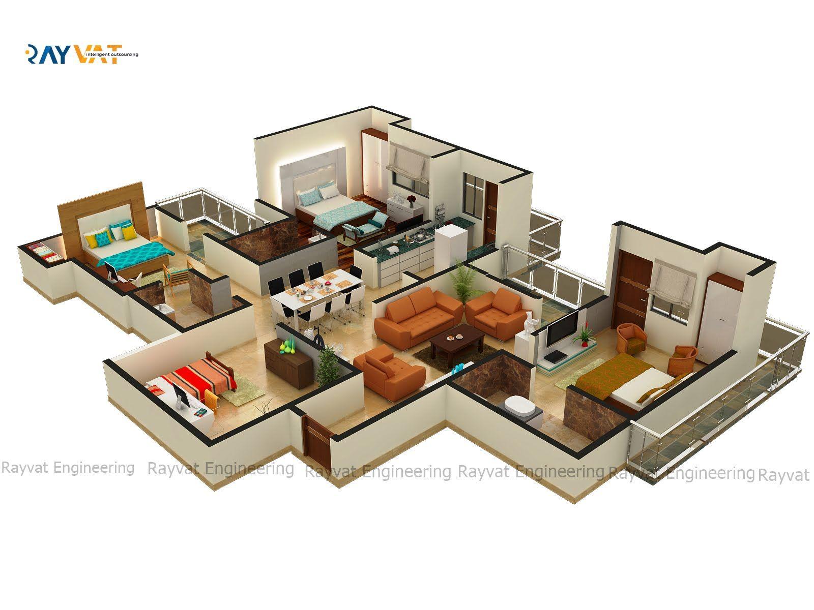 Ultra Spacious 4bhk Apartment 3d Floor Plan Floor Plans
