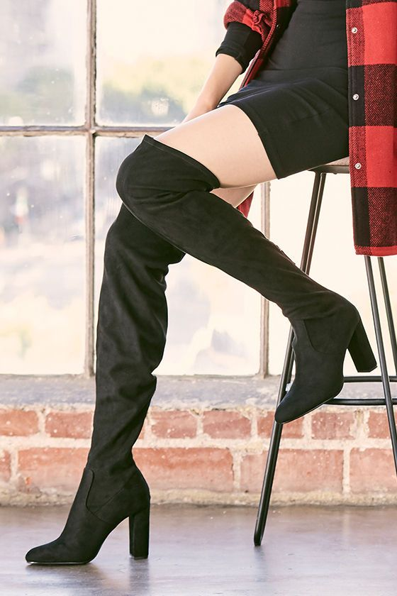 7bfd7ba556d The Steve Madden Emotions Black Suede Over the Knee Boots are a sweet  fantasy come to life! These soft vegan suede boots have an almond toe