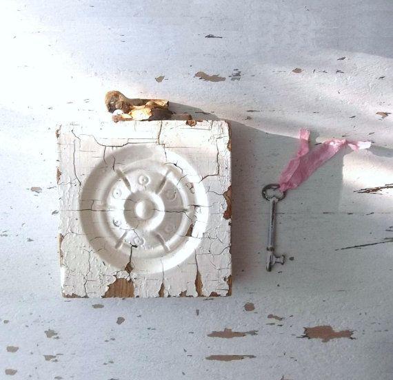 Rustic Shabby Vanilla Cream Wall Decor. Salvaged by 3vintagehearts