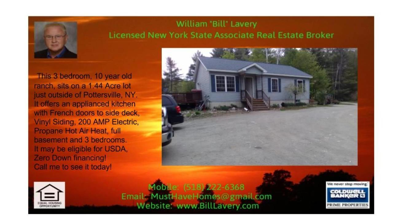 Three Bedroom Ranch for sale in Pottersville NY  https://gp1pro.com/USA/NY/Warren/Pottersville/548B_Olmstedville_Road_County_Rt_29_.html  http://www.BillLavery.com  Three Bedroom Ranch for sale in Pottersville NY - (For more info on this home, call or text Bill at 518-222-6368) - Three Bedroom Log Ranch on nice 1/2 acre lot in Pottersville, NY.  This 3 bedroom ranch for sale in Pottersville offers oil hot water baseboard heat, public water and is in the North Warren School District. In this…