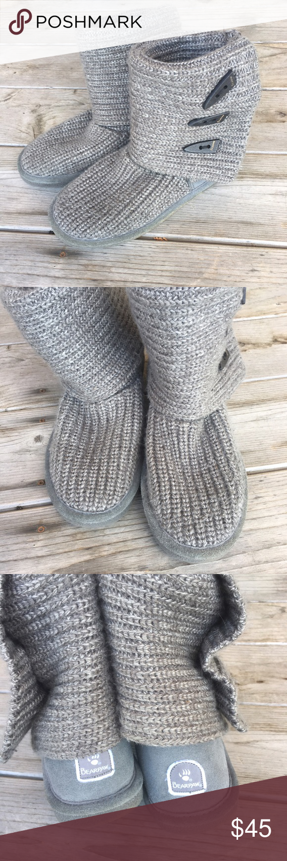 Grey Knit Bearpaw Boots First Picture Is An Idea Second