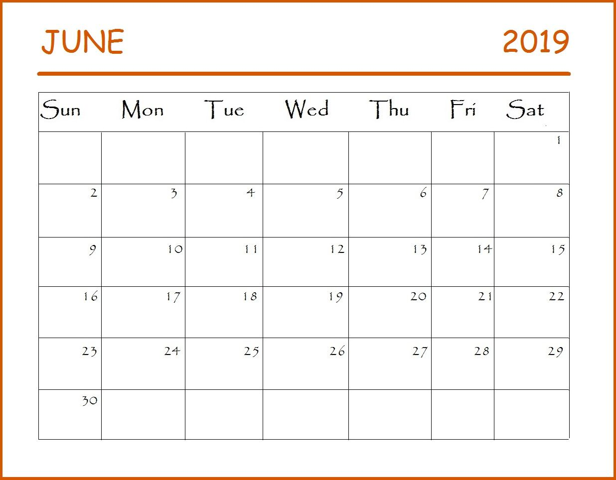 June 2019 Calendar With Images Monthly Calendar Template
