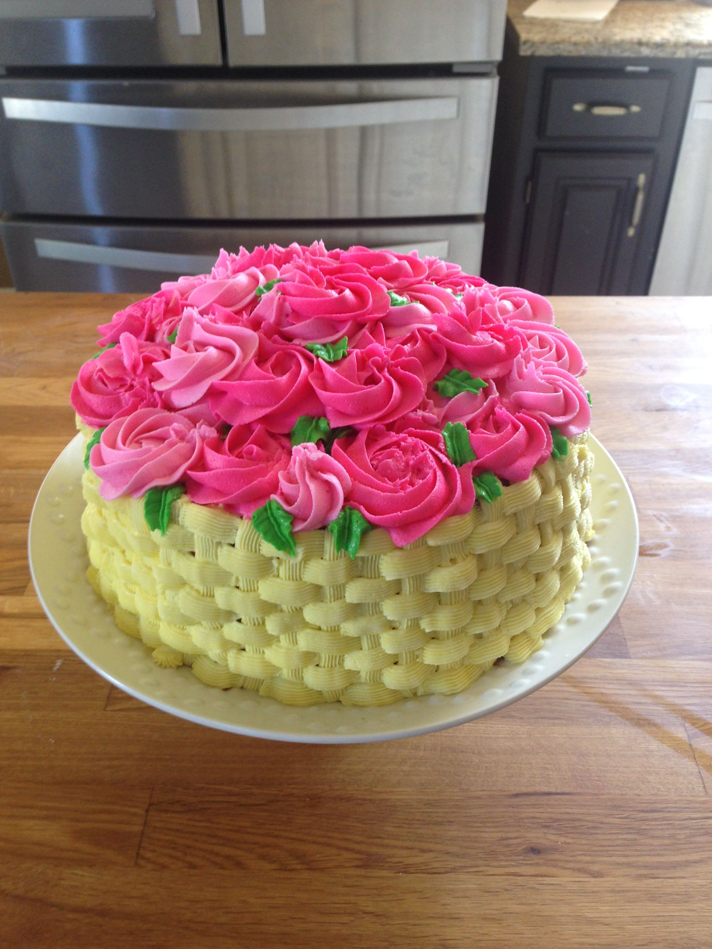 Mother S Day Cake Basket Of Flowers Cake Cake Basket Cake