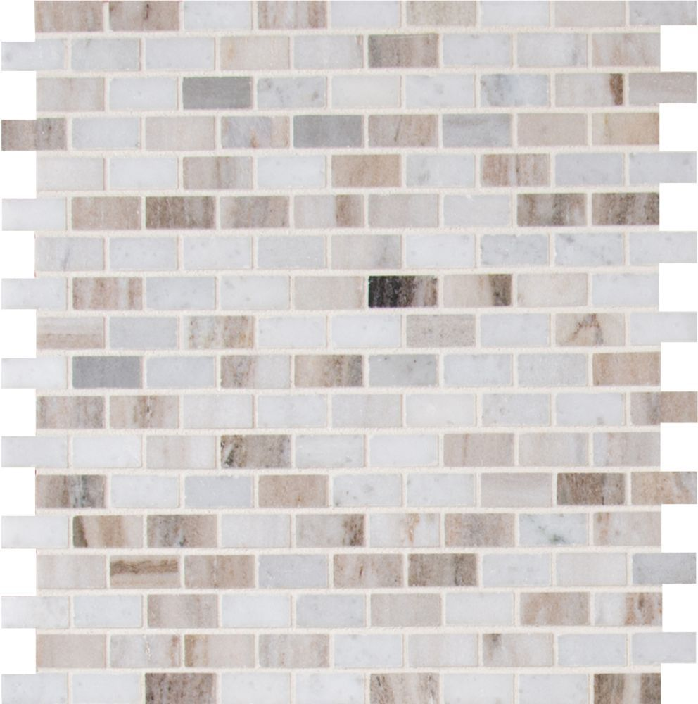 Palisandro Mini Brick 12 Inch X 12 Inch Polished Marble Mesh Mounted Mosaic Tile 10 Sq Ft Case Marble Mosaic Tiles Marble Mosaic Glass Mosaic Tiles