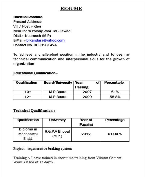 A Resume Format For Fresher Resume Format Job Resume Format Resume Format Download Resume Format For Freshers