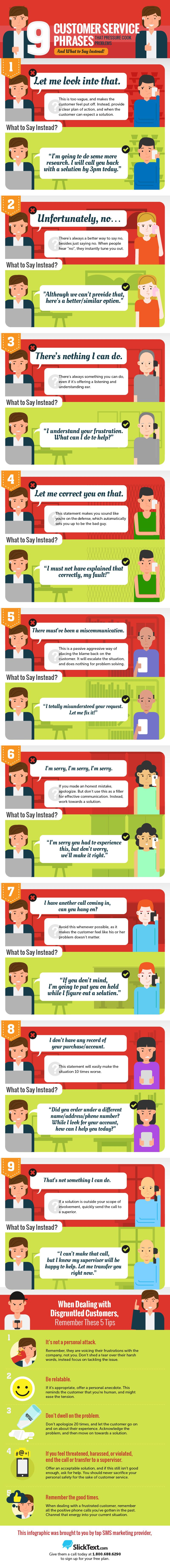 9 Customer Service Phrases that Pressure Cook Problems and What to Say Instead #infographic