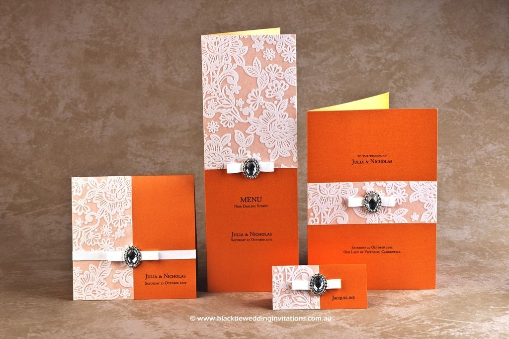 Black Tie Wedding Invitations Orange Blossom Stationery Design Http