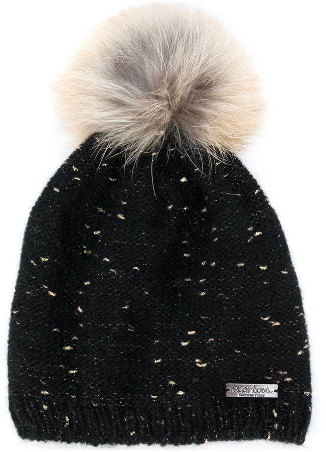 edc92b6fbf8 Norton Co. racoon fur pom pom flecked hat