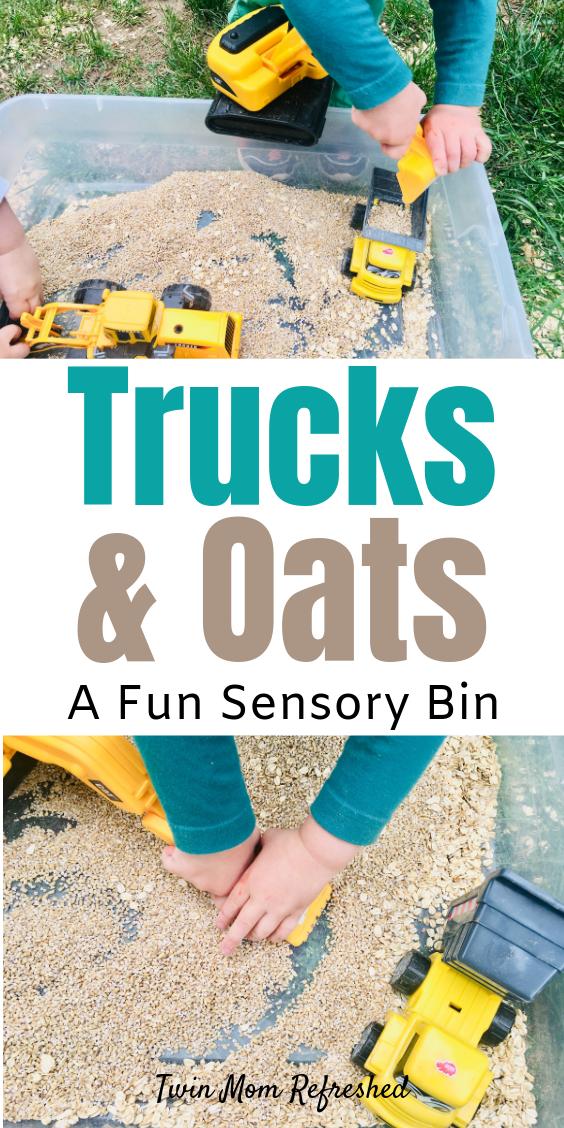 Sensory Bin Oatmeal and Trucks - Twin Mom Refreshed