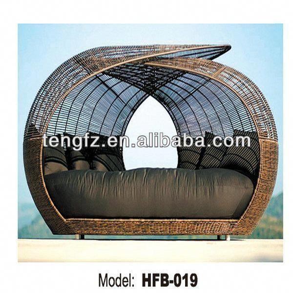 Pe Wicker Sofa Bed With Canopy Garden Rattan Sunbedgartenmobel Aus