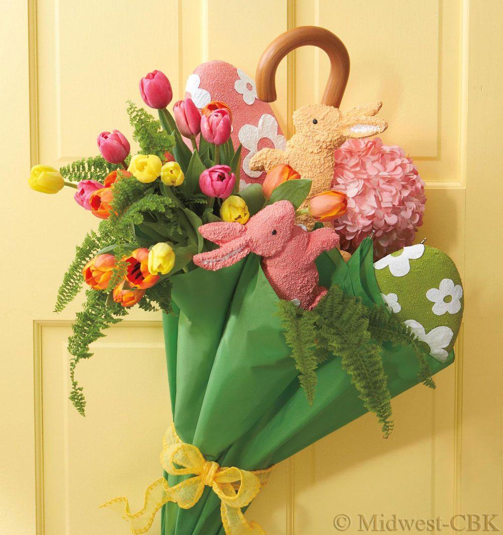 Spring door decoration: hang a partially open umbrella on your ...