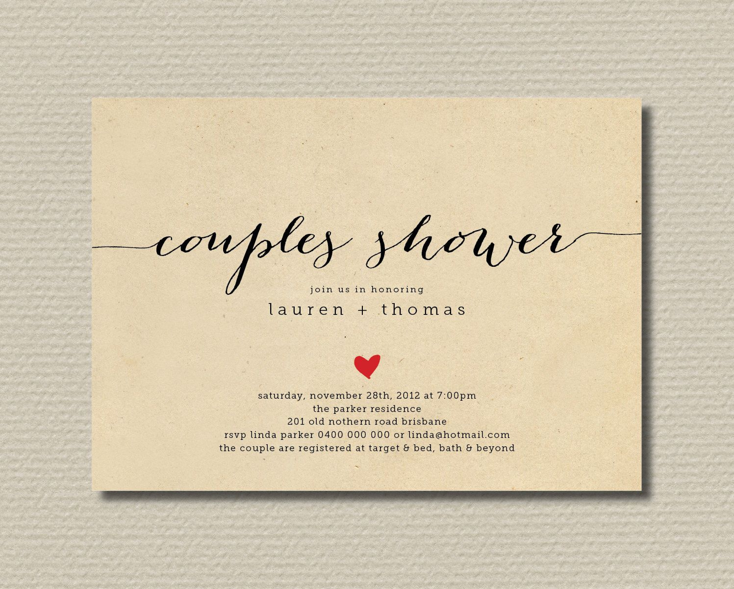 Printable Couples Shower Invitation Simple Sweet Love Heart – Couples Shower Wedding Invitations