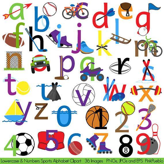 Sports Alphabet Clipart Clip Art, Sports Letters Font, Lowercase ...