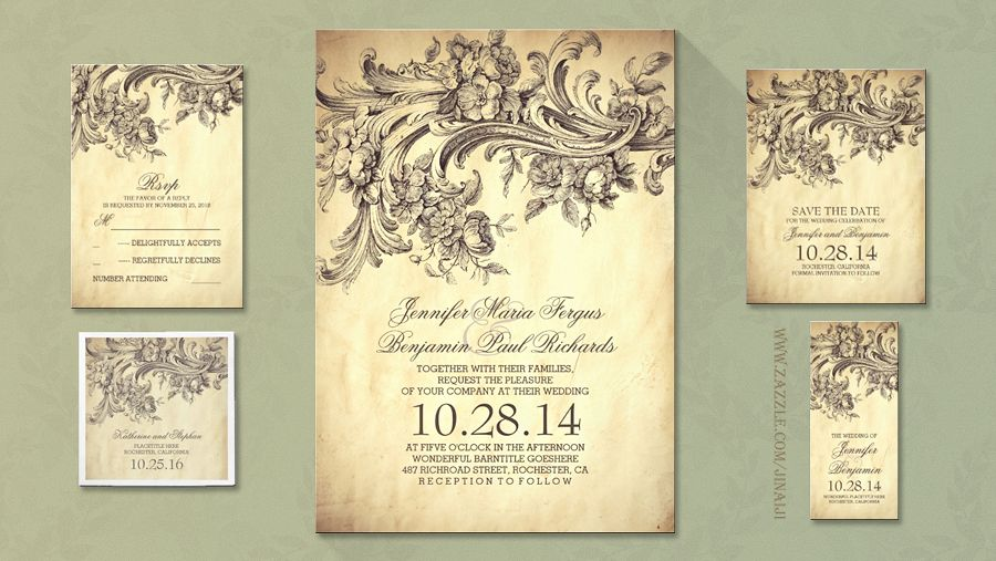 Charming Vintage Wedding Invitation Set Perfect Invite For Old Fashioned Inspired Themes Designed On Parchment Paper Background