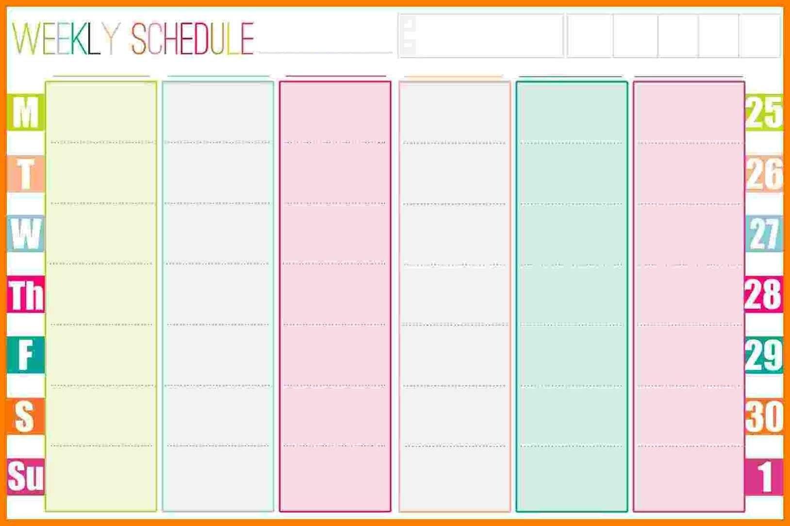 Weekly Calendar Template Format