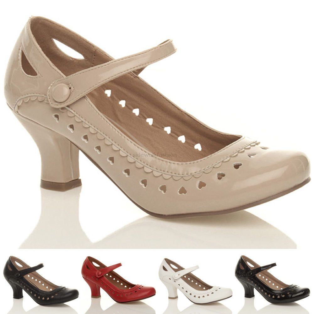 Womens ladies low kitten heel mary jane style work court shoes ...