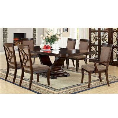 Woodmont V-Shape Table Base 7 PC Dining Table and Chair Set in