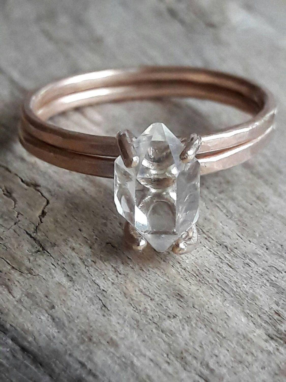 Rose Gold Fill Herkimer Diamond Wedding Set Raw Crystal