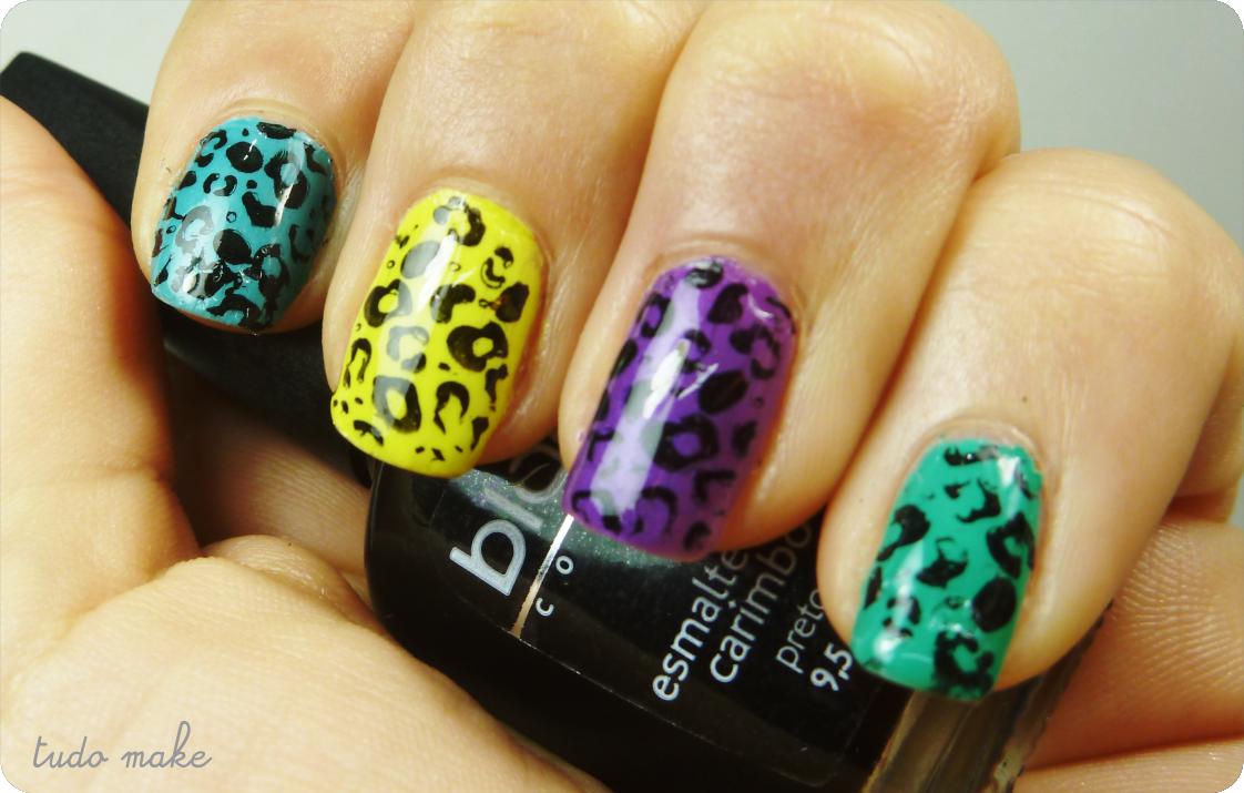 Passo a Passo unhas coloridas de onça - Animal print - tudo make 01