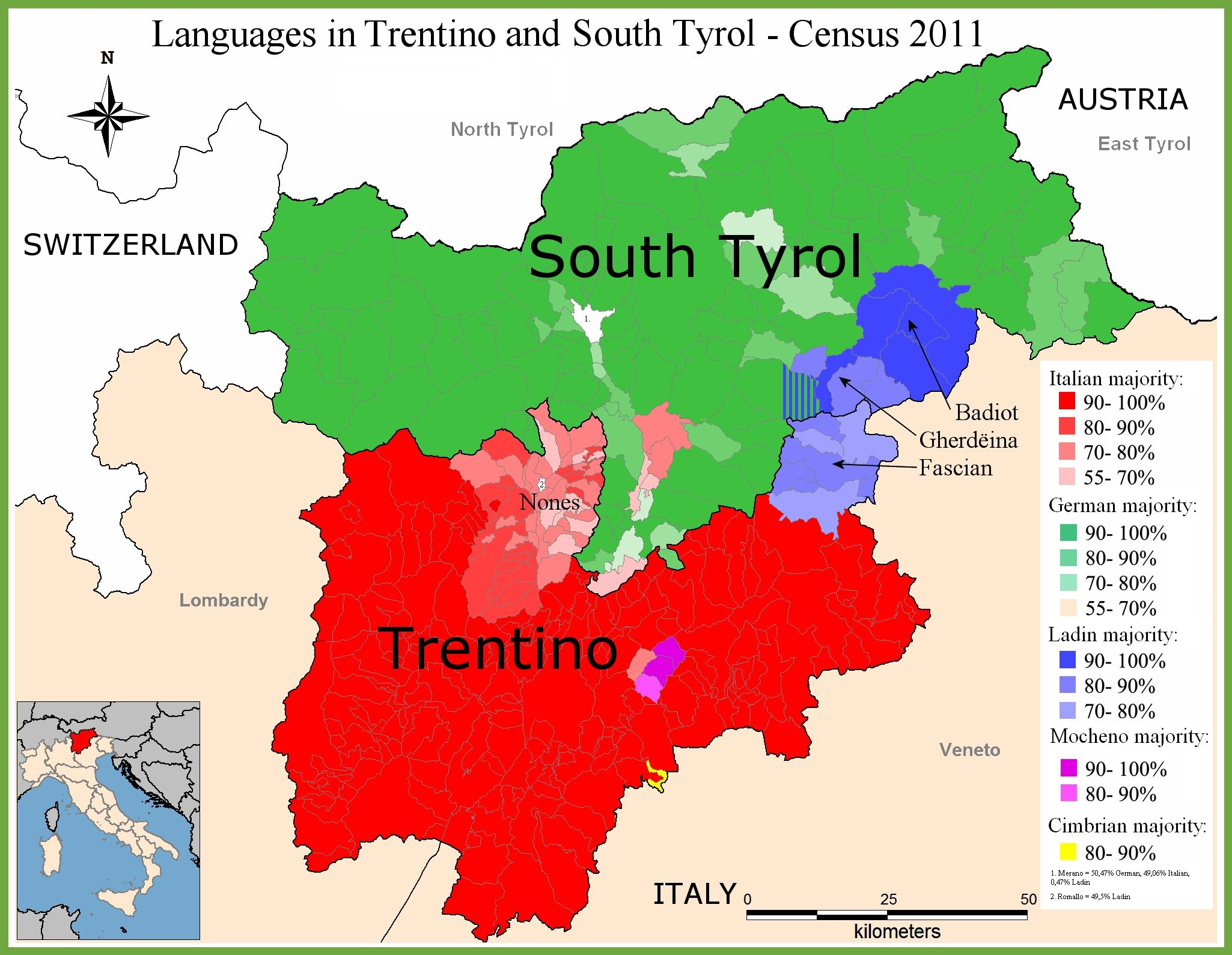 Map Of Languages In Trentino Alto Adige Italien Karte Sudtirol