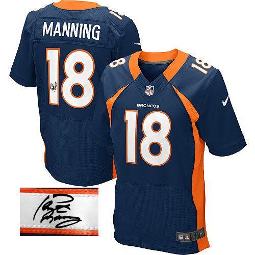 bc5ba408be2 Men s Nike Denver Broncos  18 Peyton Manning Navy Blue Alternate Elite  Autographed NFL Jersey