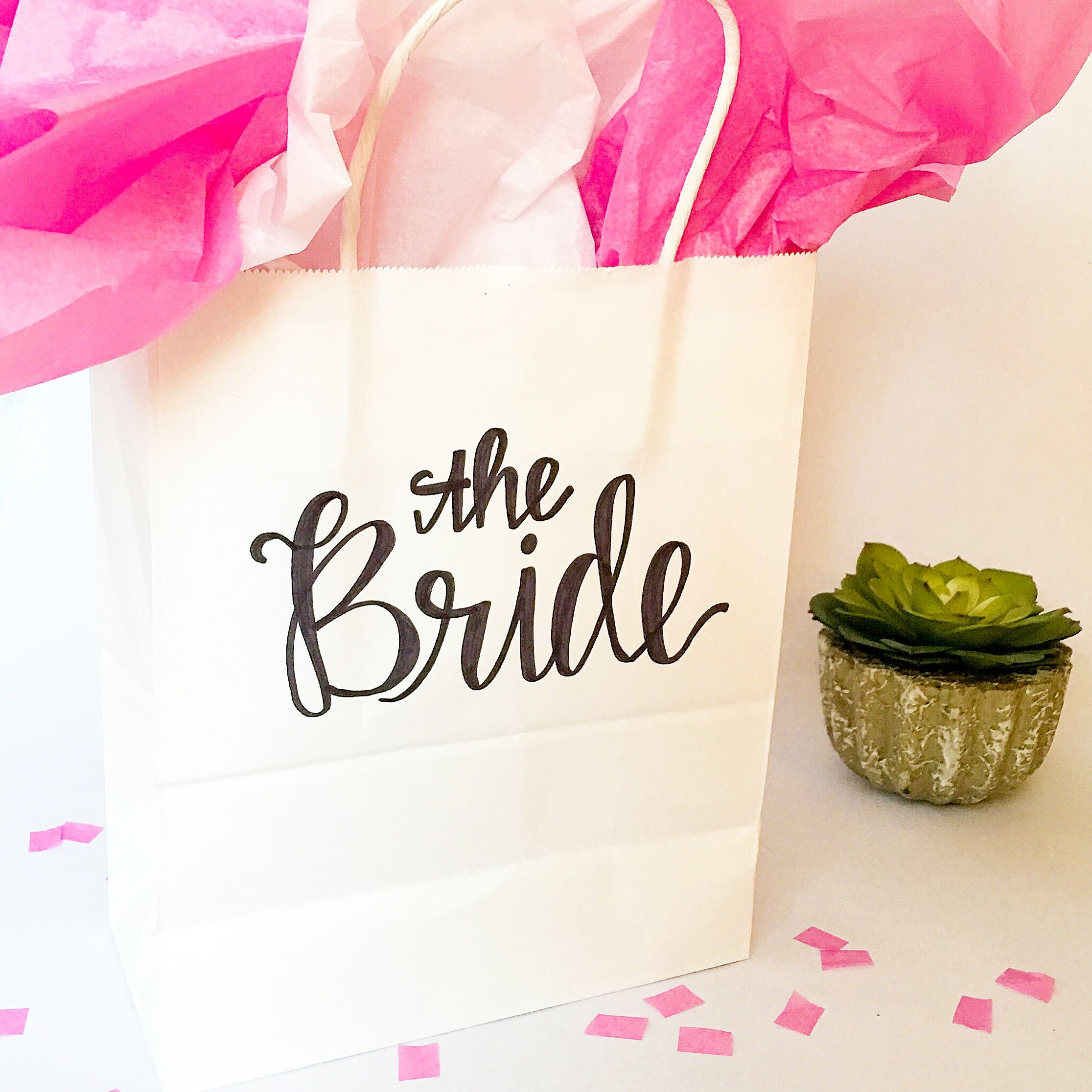 Personalized Wedding Gift Bags, Party Favor Bags, Hand-Lettered Bags ...