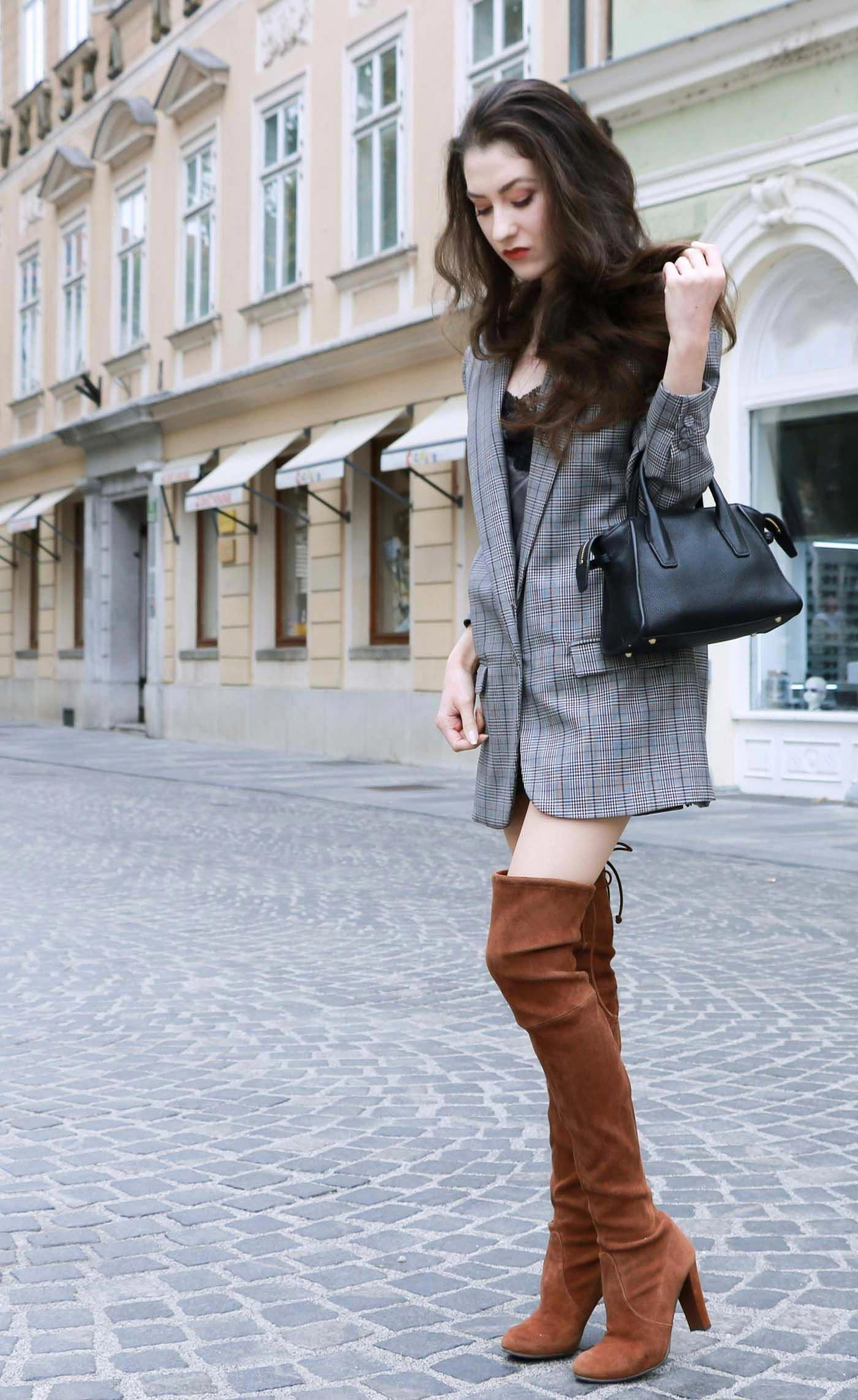 4a48344d93e Fashion Blogger Veronika Lipar of Brunette from Wall on how to wear brown  Stuart Weitzman highland