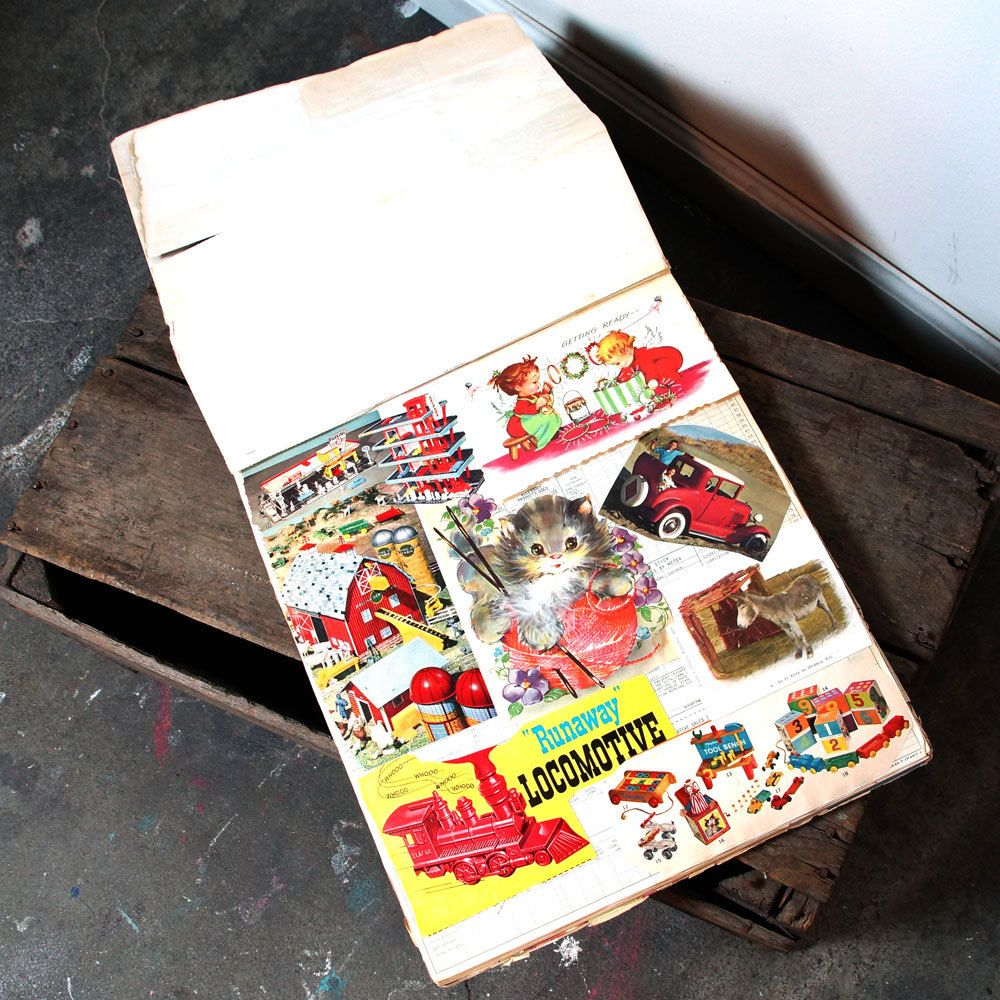 How to scrapbook newspaper clippings - Vintage 60s Scrapbook Album 46 Pages Of Magazine Newspaper Clippings Cards Plus 4 Loose