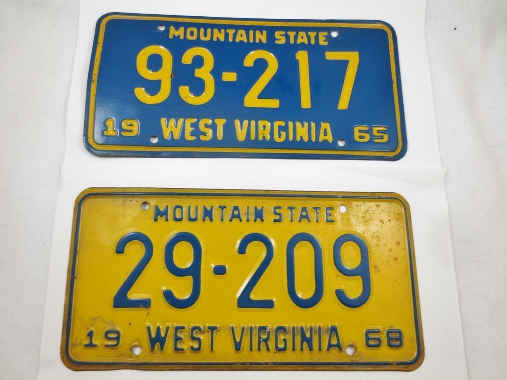 Vintage West Virginia WV Classic Muscle Car License Plates 1965-68 ...