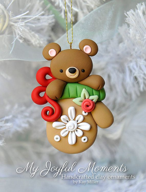 handcrafted polymer clay bear in a mitten ornament fimo. Black Bedroom Furniture Sets. Home Design Ideas