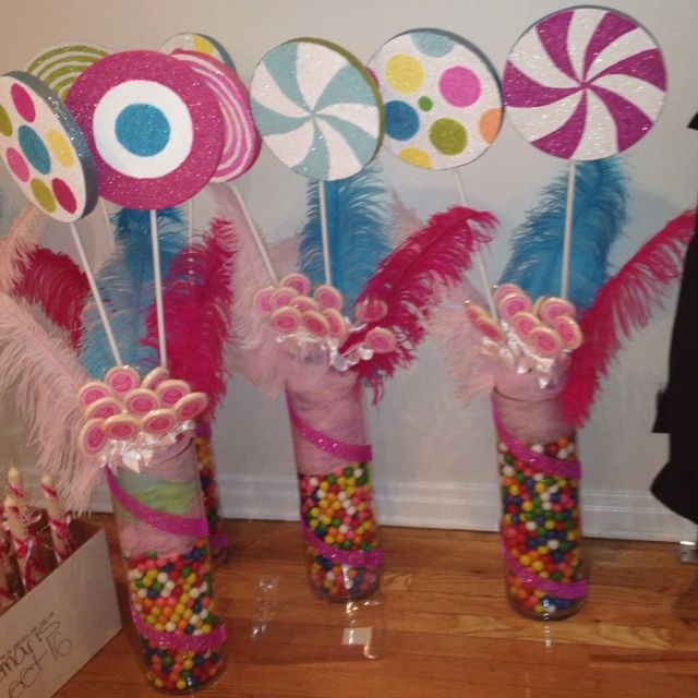 Candy land themed center pieces party pinterest