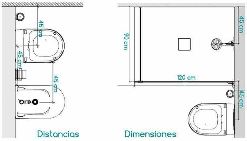 Pin De Cintia Castineira En Dimensiones Espaciales Banos Medidas Planos De Banos Pequenos Planos De Banos
