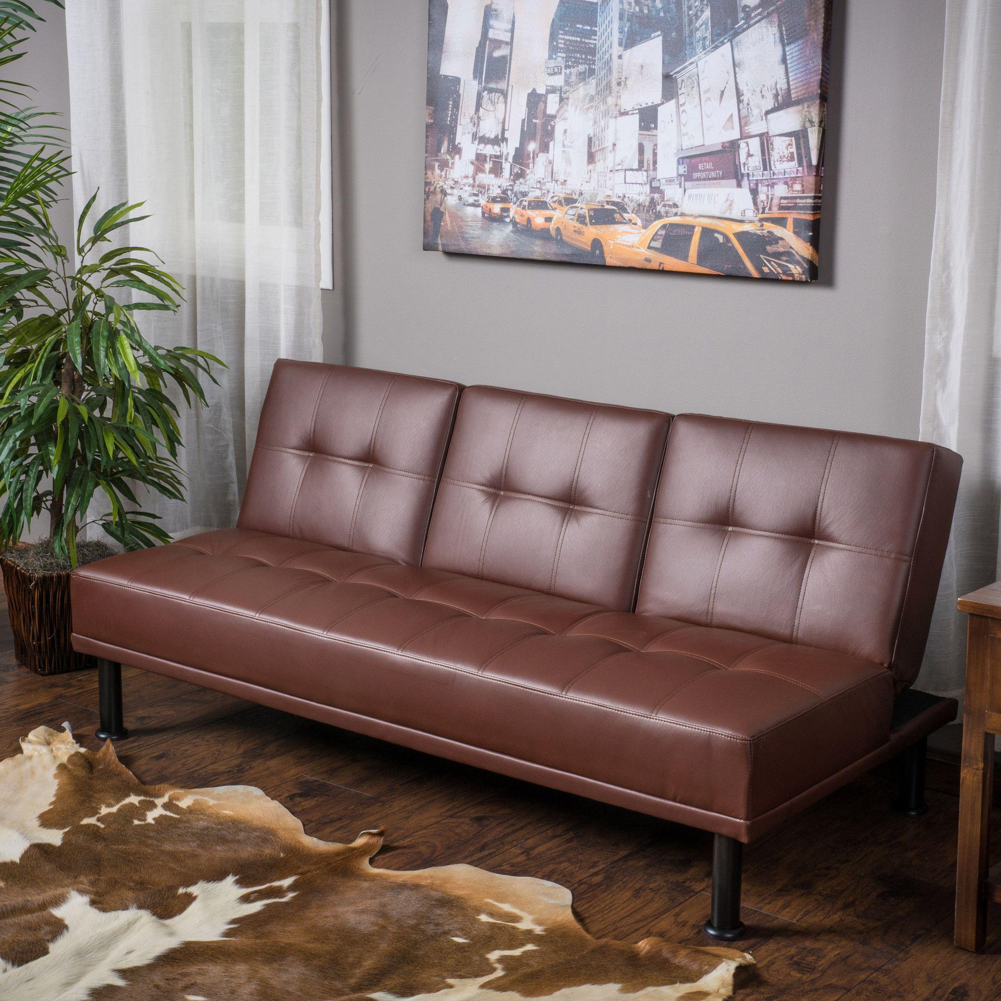 Heston Brown Vinyl Click Clack Futon 3Seater Futon Sofa