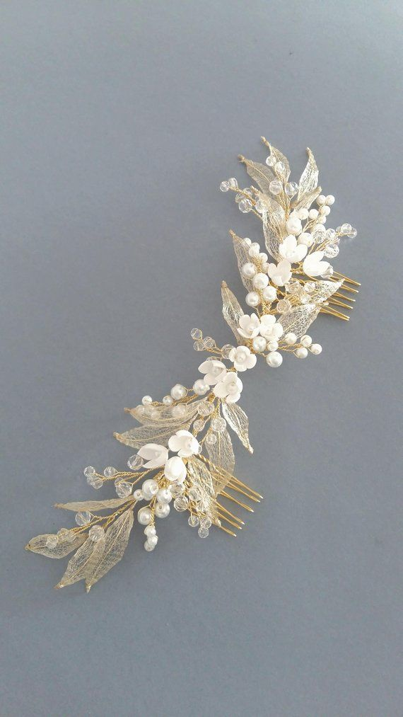 Ivory Gold Bridal hair comb, Gold Bridal headpiece, Bridal hair piece, Wedding hair piece, Wedding hair comb, Wedding headpiece #bridalheadpieces