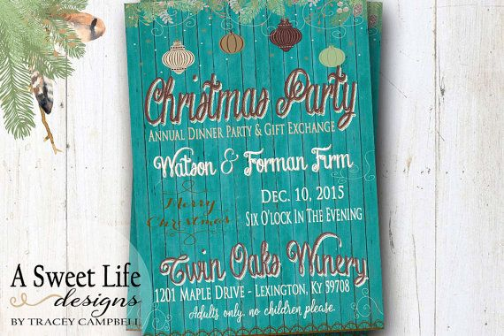Rustic Christmas Party Invitation - Company Staff Holiday Party