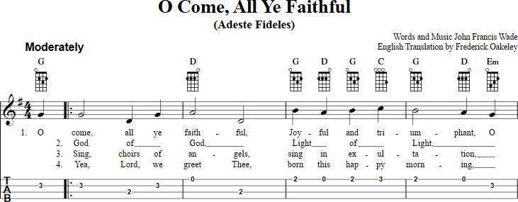 O Come All Ye Faithful sheet music for ukulele with chords, lyrics ...